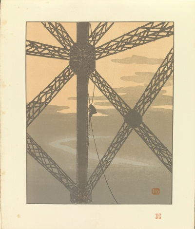 "Henri Rivière, Plate 36, The Painter in the Tower, from ""Thirty‐Six Views of the Eiffel Tower,"" 1888–1902."