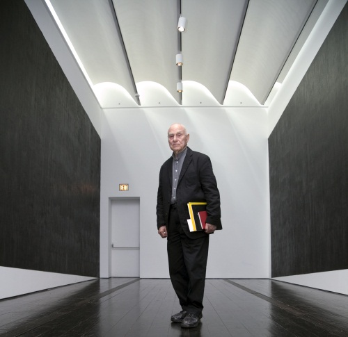 Richard Serra in his installation of Two Corner Cut: High Low (2012) at The Menil Collection.