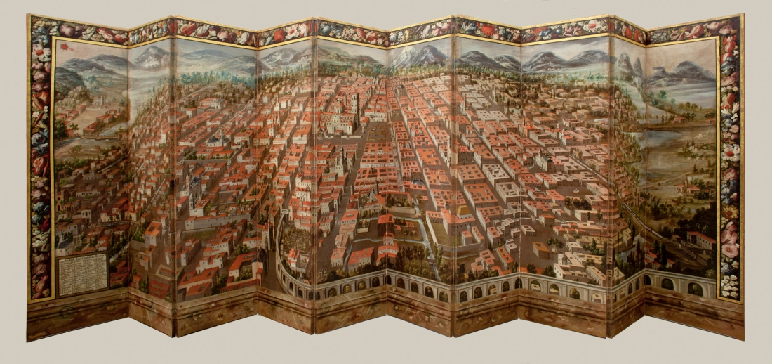 Folding Screen with  View of the City of Mexico (back), Mexico, late 17th century, collection of Vera Da Costa Autrey, Mexico