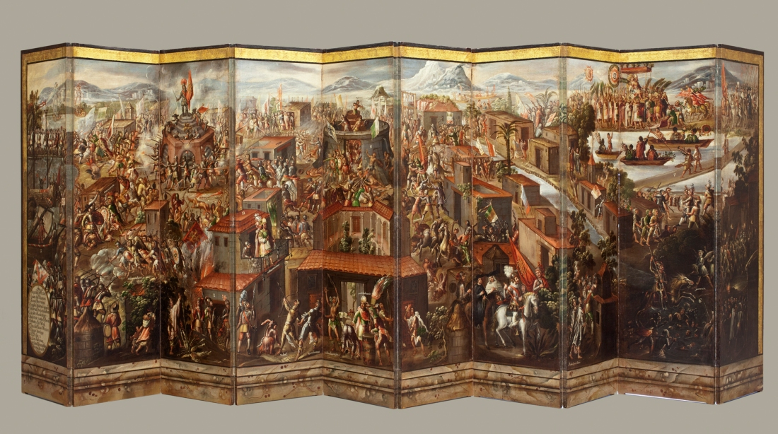 Folding Screen with the Conquest of Mexico (front); Mexico, late 17th century, collection of Vera Da Costa Autrey, Mexico