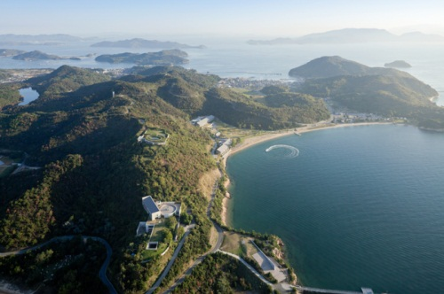 Aerial view of Benesse House Museum and Oval by Tadao Ando, on the island of Naoshima, Japan.