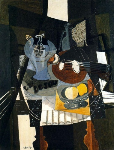 Georges Braque, Still Life with Fruit Dish, Bottle and Mandolin, 1930. Collection of Kunstsammlung Nordrheim-Westfalen, Dusseldorf.