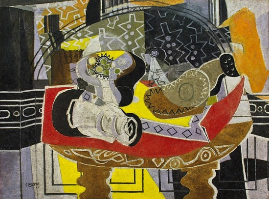 Georges Braque, Still Life with Guitar (Red Tablecloth), 1936. Collection of the Norton Museum of Art, West Palm Beach, Fla.
