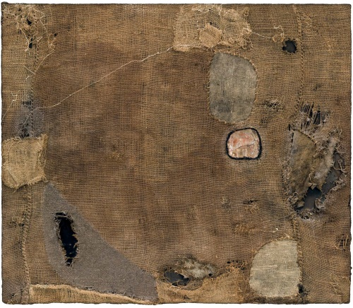 Alberto Burri, Sacco (Sackcloth), 1953. Collection of the Museum of Modern Art, New York.