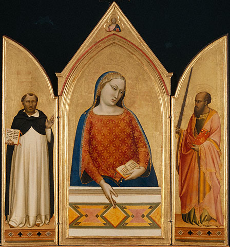 Bernardo Daddi, The Virgin Mary with Saints Thomas Aquinas and Paul, about 1330. Collection of the J. Paul Getty Museum, Los Angeles.