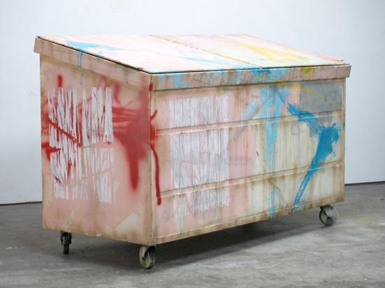 Kaz Oshiro, Dumpster (Flesh with Turquoise Swoosh), 2011.
