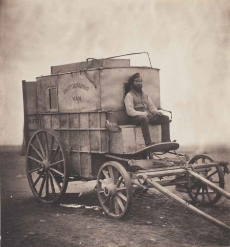 Roger Fenton, The Artist's Van, Crimea, Russia, ca. 1855. Collection of the Wilson Centre for Photography, London.