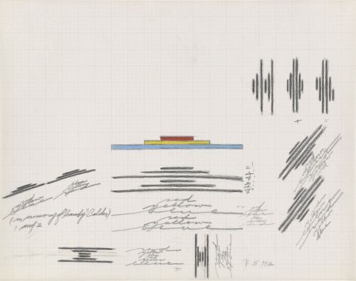 "Dan Flavin, proposals for (in memory of ""Sandy"" Calder), 1977."