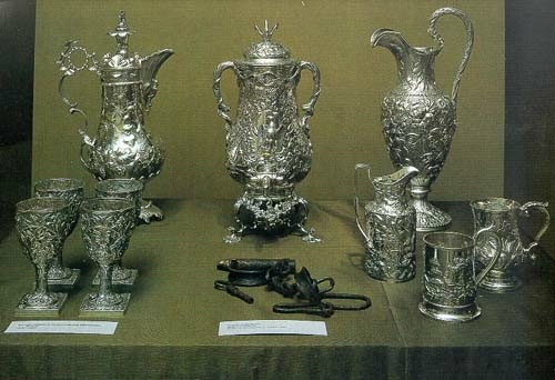"""Fred Wilson, Metalwork, 1723-1880, from """"Mining the Museum"""", 1992."""