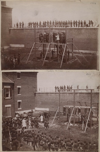 Alexander Gardner, Adjusting the Ropes (top); The Drop (bottom) [Execution of the Lincoln Conspirators], July 7, 1865. Collection of The Huntington Library, Art Collection and Botanical Gardens.