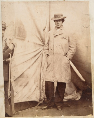 Alexander Gardner, Lewis Payne [aka Lewis Powell], One of the Lincoln Conspirators, April 27, 1865. Printed 1890. Collection of The Huntington Library, Art Collection and Botanical Gardens.