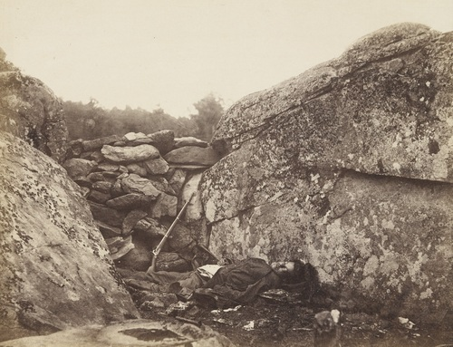 "Alexander Gardner, Home of a Rebel Sharpshooter, Gettysburg, July 1863 from ""Gardner's Photographic Sketch Book of the War."" Collection of the Museum of Modern Art, New York."