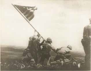 Sergeant Bill Genaust, USMC, Flag Raising atop Mount Suribachi, February 23, 1945. Collection of the MFA Houston.