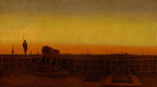 Sanford R. Gifford, Fort Federal Hill at Sunset, Baltimore, 1862. Collection of the New York State Military Museum, New York State Division of Military and Naval Affairs.