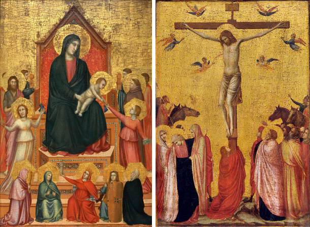 Left: Giotto, The Virgin and Child with Saints and Allegorical Figures, about 1315–20. Right: Giotto, The Crucifixion, about 1315-20. Collection of the Musée des Beaux-Arts de Strasbourg.