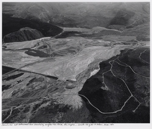 Frank Gohlke, Aerial View, Silt Containment Dam Breached by Mudflow from April, 1982 Eruption, 16 Miles NW of Mt. Saint Helens, Washington, 1982.