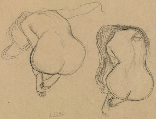 Gustav Klimt, Two Studies of a Seated Nude with Long Hair, about 1901-1902. Collection of the J. Paul Getty Museum, Los Angeles.