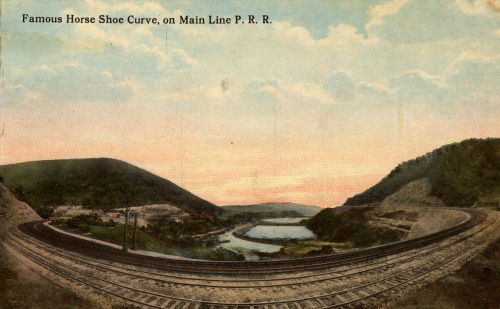 Famous Horse Shoe Curve, on Main Line PRR, ca. 1910.