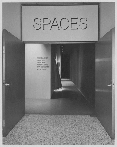"Installation of Larry Bell's untitled installation at the Museum of Modern Art's ""Spaces"" exhibition, 1969. Photographs courtesy of and copyright the Museum of Modern Art, New York."