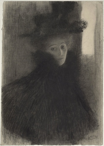 Gustav Klimt, Portrait of a Lady with Cape and Hat, 1897 - 1898. Collection of the Albertina, Vienna.