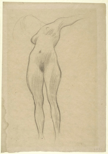 Gustav Klimt, Floating Female Figure with Outstretched Left Arm, 1900-1901.