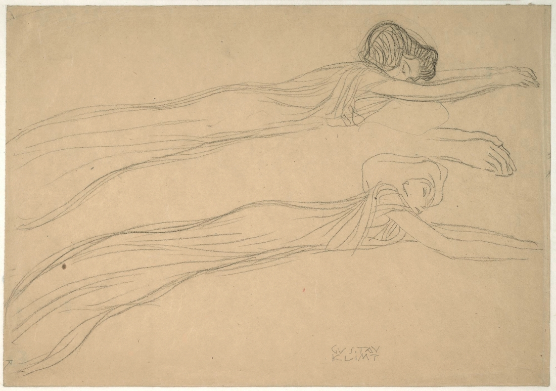 Gustav Klimt, Two Studies of a Reclining Draped Figure, 1901. Collection of the Albertina, Vienna.