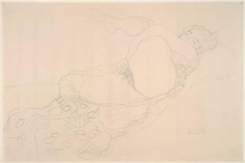 Gustav Klimt, Reclining Nude with Leg Raised, 1912-13. Collection of the Albertina, Vienna.
