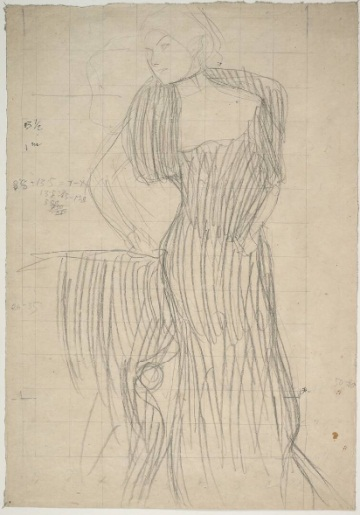 Gustav Klimt, Standing Woman, Leaning on a Chair, Study for a Portrait of Rose von Rosthorn-Friedmann. 1900-1901. Collection of the Albertina, Vienna.