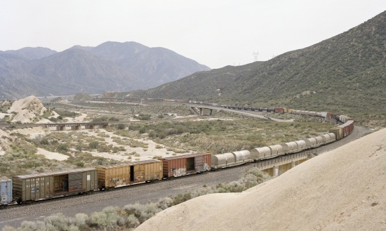Justine Kurland, Three Riders, UP Mixed Freight, 2012.
