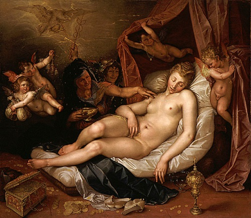 Hendrik Goltzius, The Sleeping Danae Being Prepared to Receive Jupiter, 1603. Collection of the Los Angeles County Museum of Art.