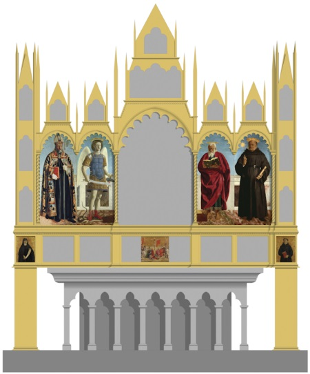 Hypothetical reconstruction of Piero's altarpiece for the Church of Sant'Agostino, Borgo San Sepolcro, showing the position of seven of the altarpiece's eight surviving panels. The eighth panel, Saint Apollonia, is not illustrated in this view as it was located on the side of the altarpiece.