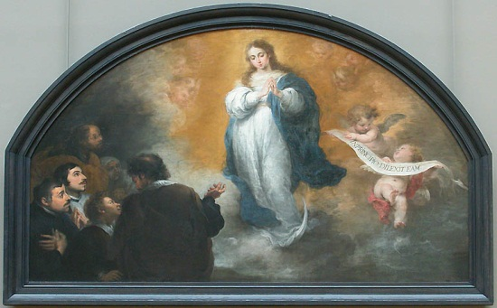 Murillo, Virgin of the Immaculate Conception with Worshipers, ca. 1665-70. Collection of the Louvre, Paris.
