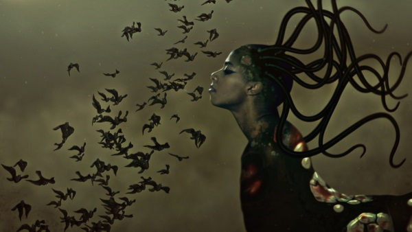 Wangechi Mutu, still from The end of eating everything, 2012. See a trailer on MOCAtv.