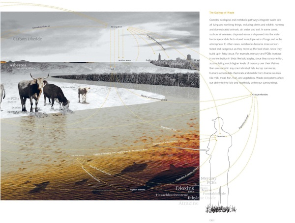 "A two-page spread from Kate Orff's Ecological Atlas in ""Petrochemical America."""