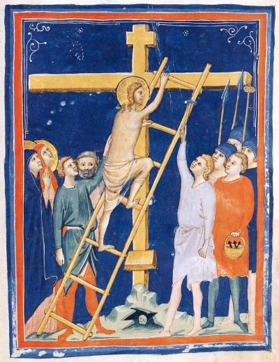 Pacino di Bonaguido, The Ascent of the Cross. Collection of The Morgan Library & Museum, New York.