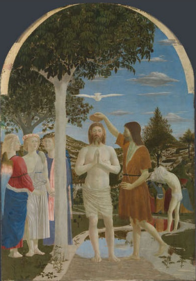 Piero della Francesca, The Baptism of Christ, ca. 1450s. Collection of the National Gallery, London.