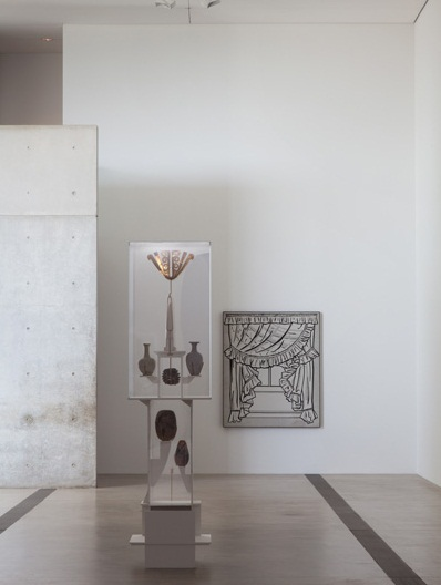 """Gedi Sibony installation for """"In the Still Epiphany"""" at the Pulitzer Foundation for the Arts, St. Louis. Including: Roy Lichtenstein, Curtains, 1962. Collection of the St. Louis Art Museum; and an installation constructed by Sibony."""