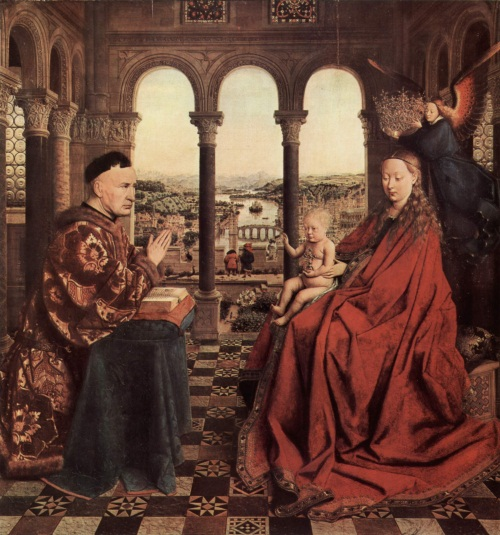 Jan van Eyck, The Madonna of Chancellor Rolin, ca. 1435. Collection of the Louvre, Paris.