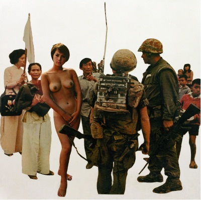 """Martha Rosler, Playboy (On View) from """"Bringing Home the War: House Beautiful,"""" 1967-72."""
