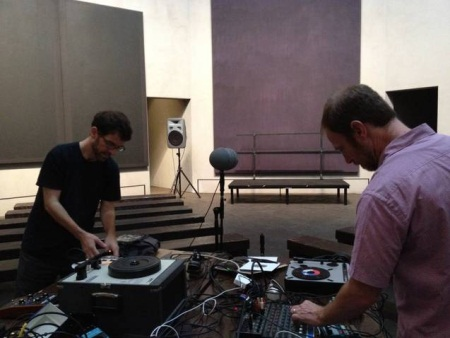 Stephen Vitiello and Steve Roden preparing for their performance The Spaces Contained in Each at The Rothko Chapel, Houston. Courtesy Stephen Vitiello.