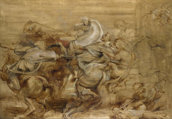 Peter Paul Rubens, A Lion Hunt, ca. 1614-15. Collection of the National Gallery, London.