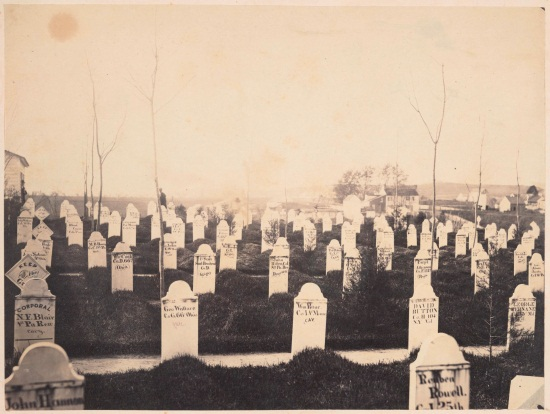 Andrew J. Russell, Soldiers' Burying Ground, Alexandria, Va., May 1863, 1863. Collection of The Huntington Library, Art Collection and Botanical Gardens.