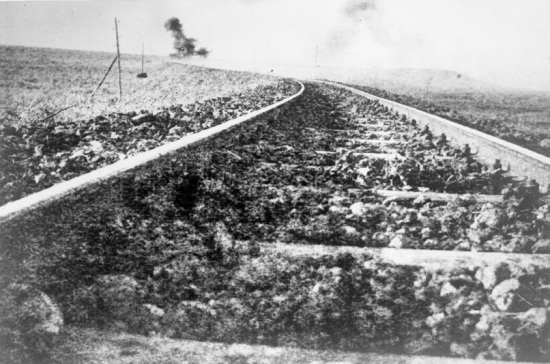 T.E. Lawrence, [A Tulip bomb explodes on the railway Hejaz Railway, near Deraa, Hejaz, Ottoman Empire], 1918. Collection of the MFA Houston.