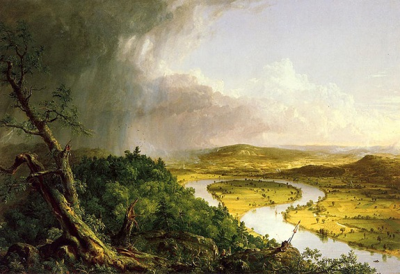 Thomas Cole, View from Mount Holyoke, Northampton, Massachusetts -- The Oxbow, 1836. Collection of The Metropolitan Museum of Art, New York.