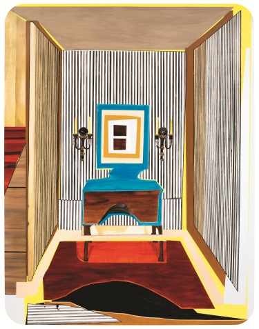 Mickalene Thomas, Interior: Striped Foyer, 2012.