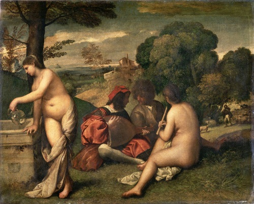 Titian (and/or Bellini, Sebastiano del Pombo), Fete champetre, ca. 1510. Collection of the Louvre, Paris.