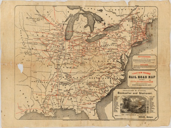 W.E. Tunis, Railroad Map of the United States & Canada, 1859.