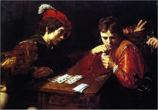 Valentin de Boulogne, Cardplayers, 1620s. Collection of the Gemaldegalerie, Dresden.