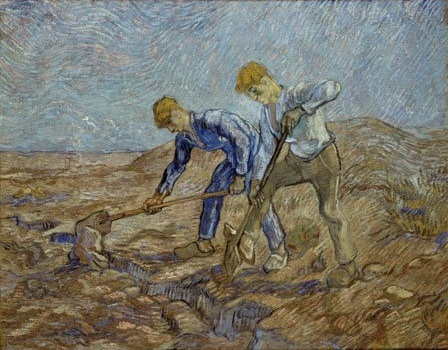 Vincent Van Gogh, Two Peasants Digging, 1889. Collection of the Stedelijk Museum, Amsterdam.