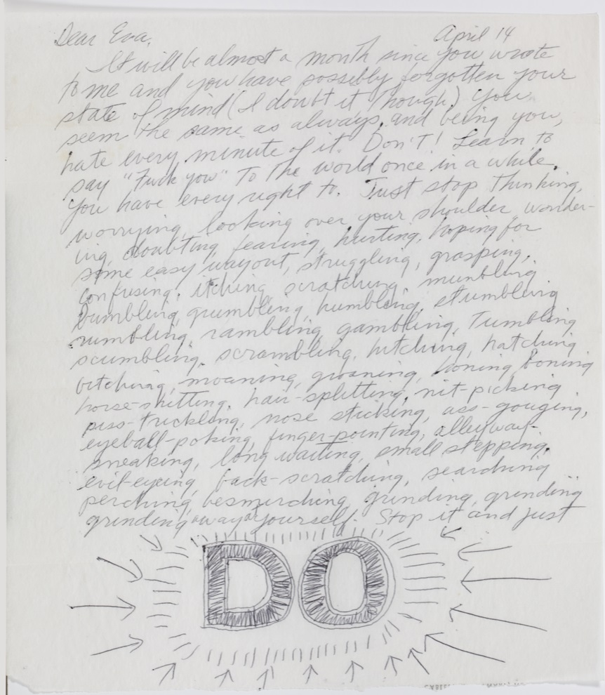 Page one of Sol LeWitt's April 14, 1965 letter to Eva Hesse.